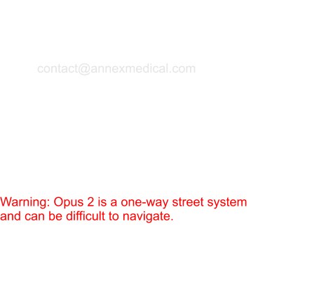 Annex Medical is located in the Opus 2 business park in Minnetonka, MN.   Warning: Opus 2 is a one-way street system and can be difficult to navigate. Contact Information  Phone: (952) 942-7576 Fax: (952) 942-7590 email: contact@annexmedical.com  Regular hours (non-summer): 6:50 am - 3:15 pm CST